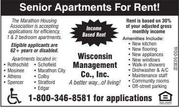 Senior Apartments For Rent! The Marathon Housing Association is accepting applications for efficiency, 1 &