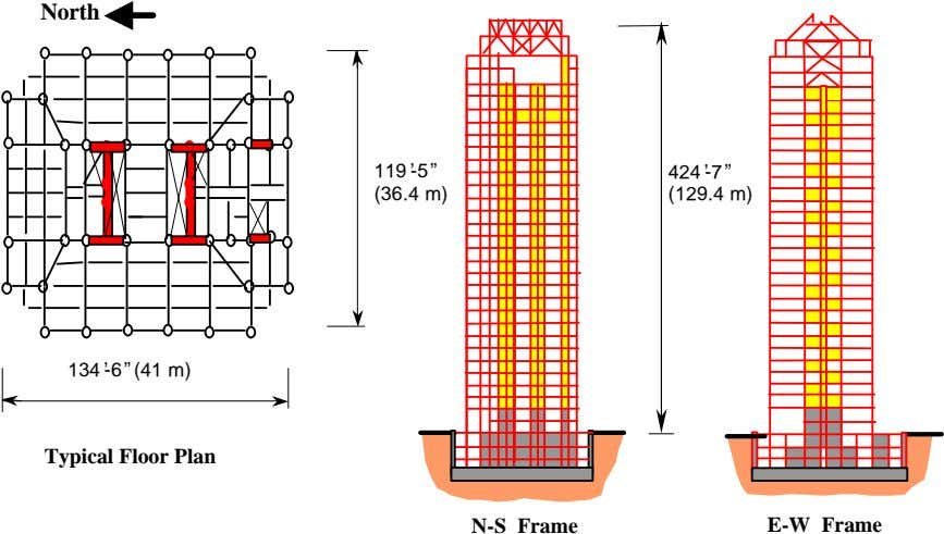 "North 119'-5"" 424'-7"" (36.4 m) (129.4 m) 134'-6""(41 m) Typical Floor Plan N-S Frame E-W"