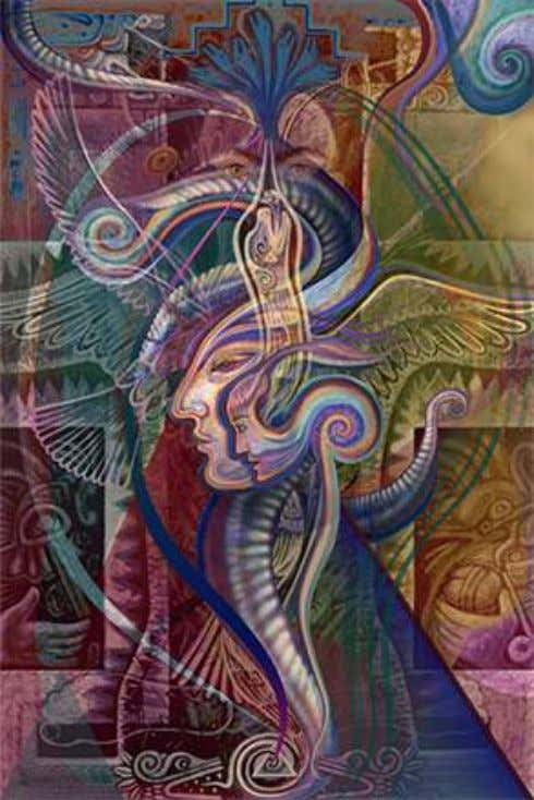 (the Kundalini principle) connected to Astral travel. On the right side above, the pink jaguar, Tezcatlipoca,