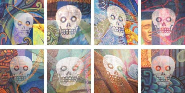 darkness, they appear to be a very light yellowish tint. The eight Aztec skulls displayed individually