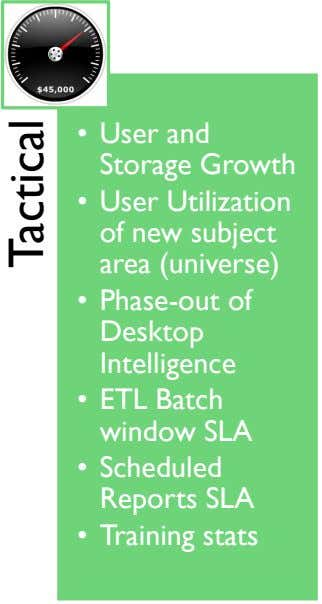 • User and Storage Growth • User Utilization of new subject area (universe) • Phase-out