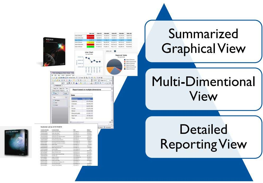 Summarized Graphical View Multi-Dimentional View Detailed Reporting View