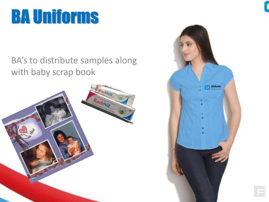 BA Uniforms BA's to distribute samples along with baby scrap book