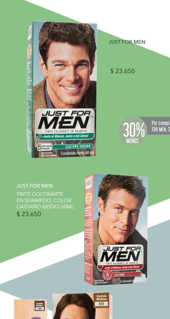 JUST FOR MEN $ 23.650 30% MENOS JUST FOR MEN TINTE COLORANTE EN SHAMPOO, COLOR