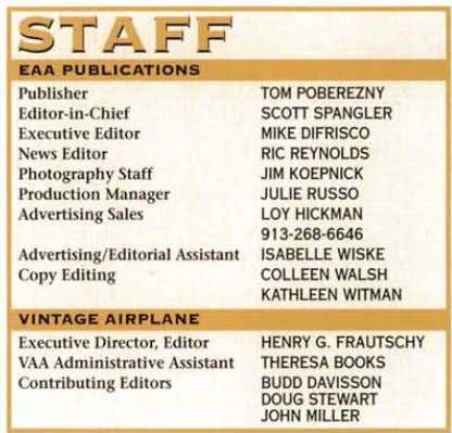Publisher TOM POBEREZNY Editor-in-Chief SCOTT SPANGLER Executive Editor MIKE DIFRISCO News Editor RIC REYNOLDS