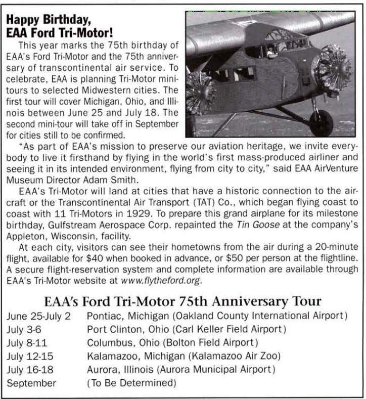 Happy Birthday, EAA Ford Tri-Motor! This year marks the 75th birthday of EAA's Ford Tri-Motor