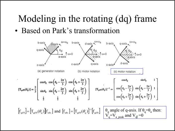 Modeling in the rotating (dq) frame • Based on Park's transformation [ ][ ][ ]