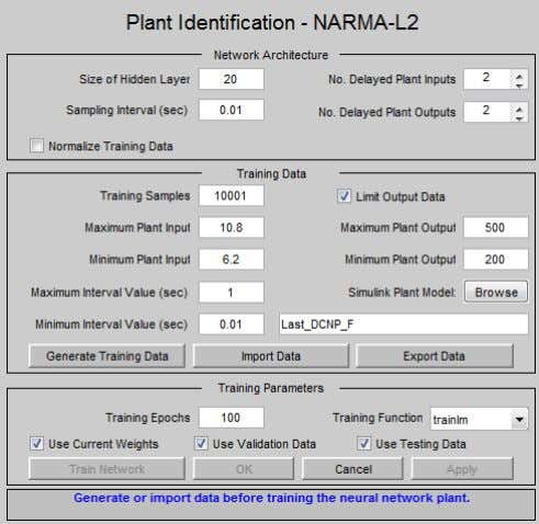 library block included in the MATLAB neural network toolbox. Figure 8: NARMA-L2 controller block GUI plant