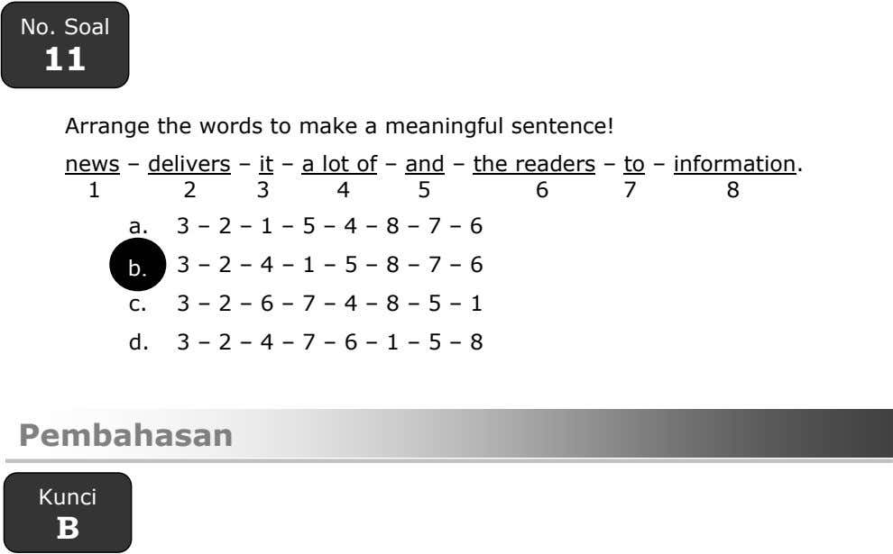 No. Soal 11 Arrange the words to make a meaningful sentence! news – delivers –