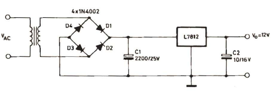 transformer. Fig. C Full-wave rectifier with bridge. Fig. D Full-wave rectifier with filter circuit and voltage