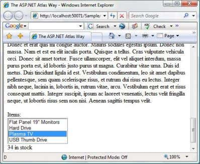 ASP.NET - The Code Pro ject - AJAX / Atlas Page 2 of 14 The example