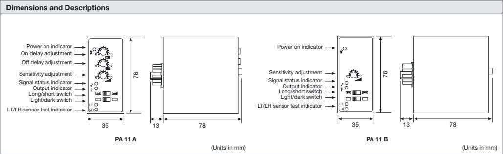 Dimensions and Descriptions Power on indicator Power on indicator On delay adjustment Off delay adjustment
