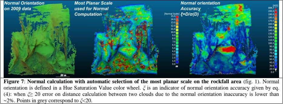 Figure 7: Normal calculation with automatic selection of the most planar scale on the rockfall