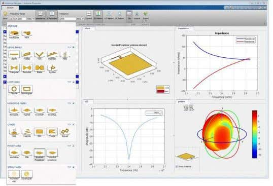 radiation patterns for simulating beamforming algorithms. The Antenna Designer app, which provides interactive tools
