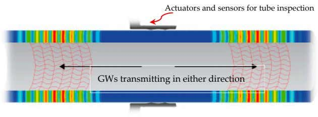 Actuators and sensors for tube inspection GWs transmitting in either direction