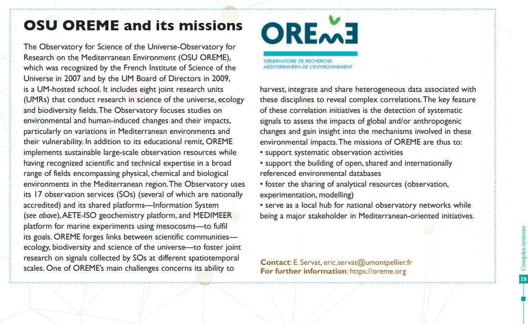 OSU OREME and its missions The Observatory for Science of the Universe-Observatory for Research on