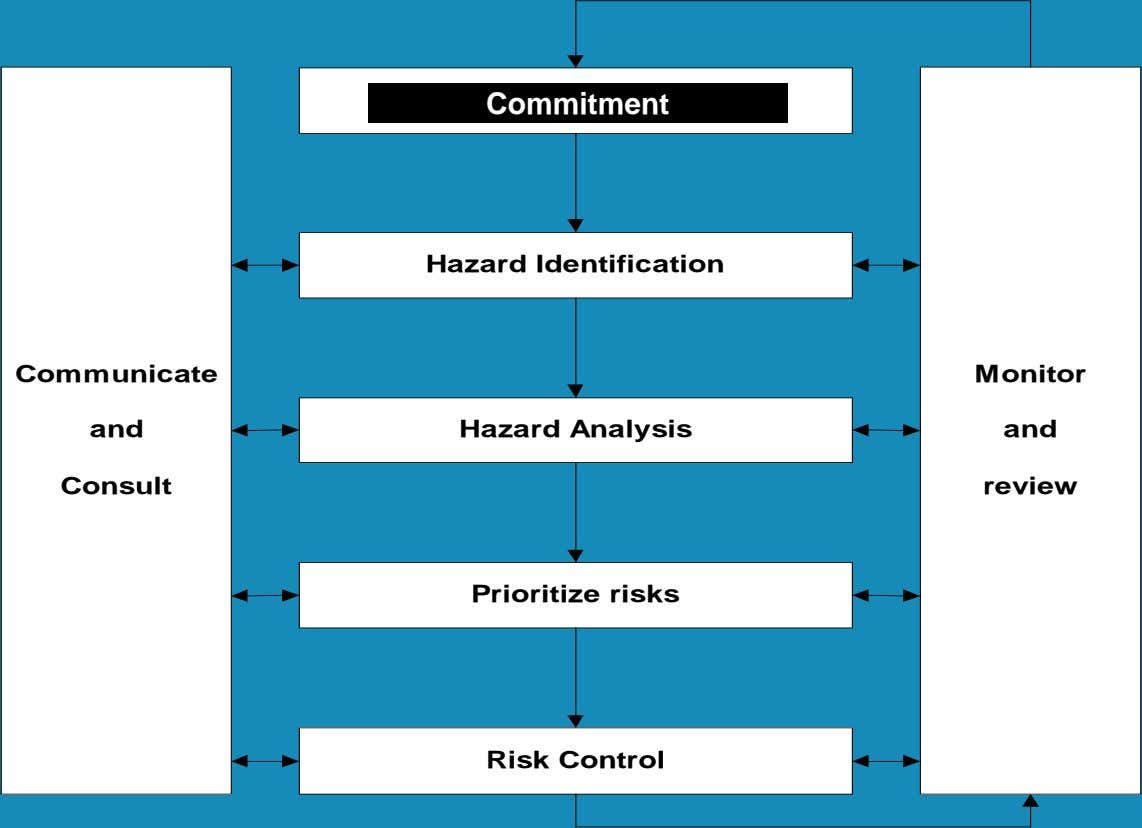 Commitment Hazard Identification Communicate Monitor and Hazard Analysis and Consult review Prioritize risks