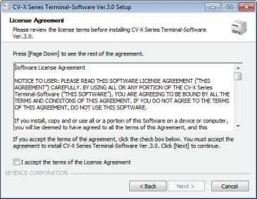 2 Click [Next]. The [License Agreement] screen appears. 3 Follow the on-screen instructions to complete the