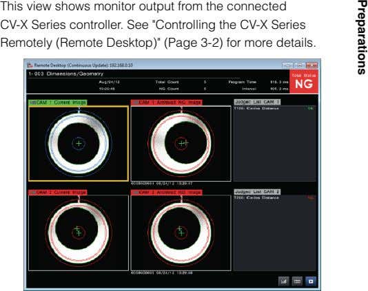"This view shows monitor output from the connected CV-X Series controller. See ""Controlling the CV-X"