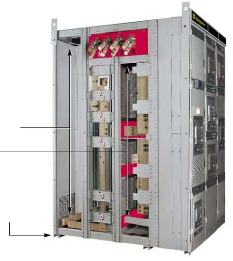 through the switchgear. Figure 3: Switchgear (Side View) Rear cable compartment Bus compartment Base channel