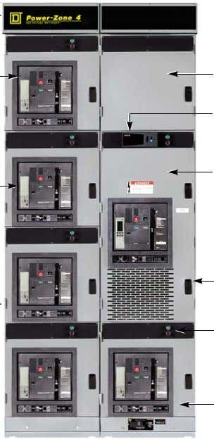 below depict a typical Power-Zone 4 switchgear assembly. Removable top plate Wiring trough Auxiliary instrument