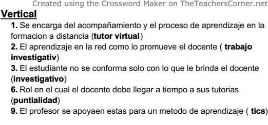 Created using the Crossword Maker on TheTeachersCorner.net Vertical 1. Se encarga del acompañamiento y el