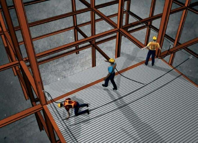 Using the leading edge fall protection system A decking crew typically consists of three people: one