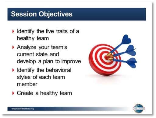 Facilitator Guide 4. SHOW the Session Objectives slide. 5. PRESENT the session objectives: ▪ After completing
