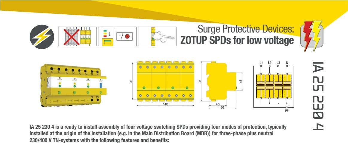 Surge Protective Devices: ZOTUP SPDs for low voltage IA 25 230 4 is a ready