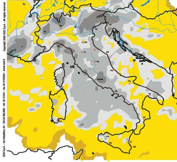 LIGHTNING GROUND FLASH DENSITY Density of lightning flashes year 2013 in Italy 1OO km Scale 1/7.OOO.OOO
