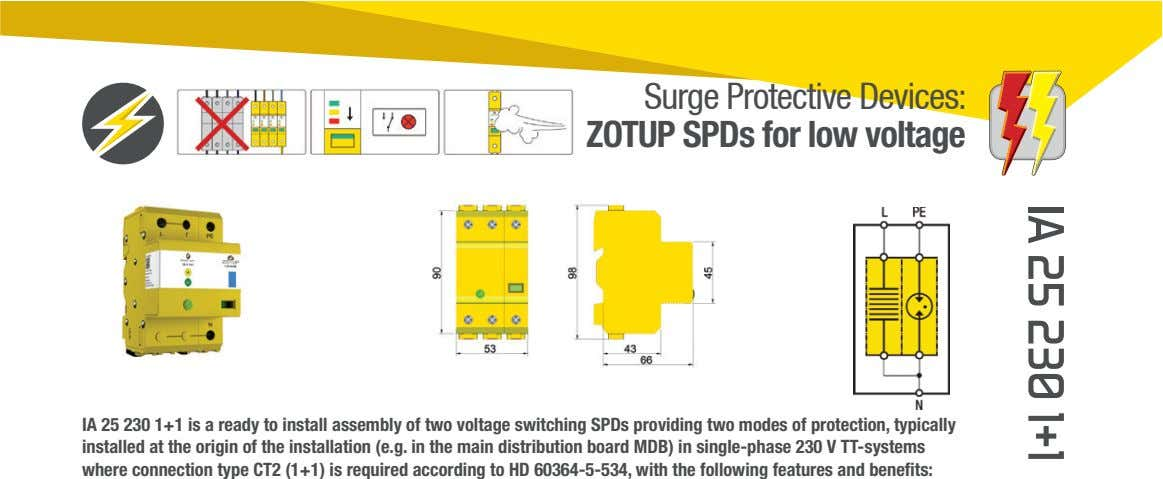 Surge Protective Devices: ZOTUP SPDs for low voltage IA 25 230 1+1 is a ready