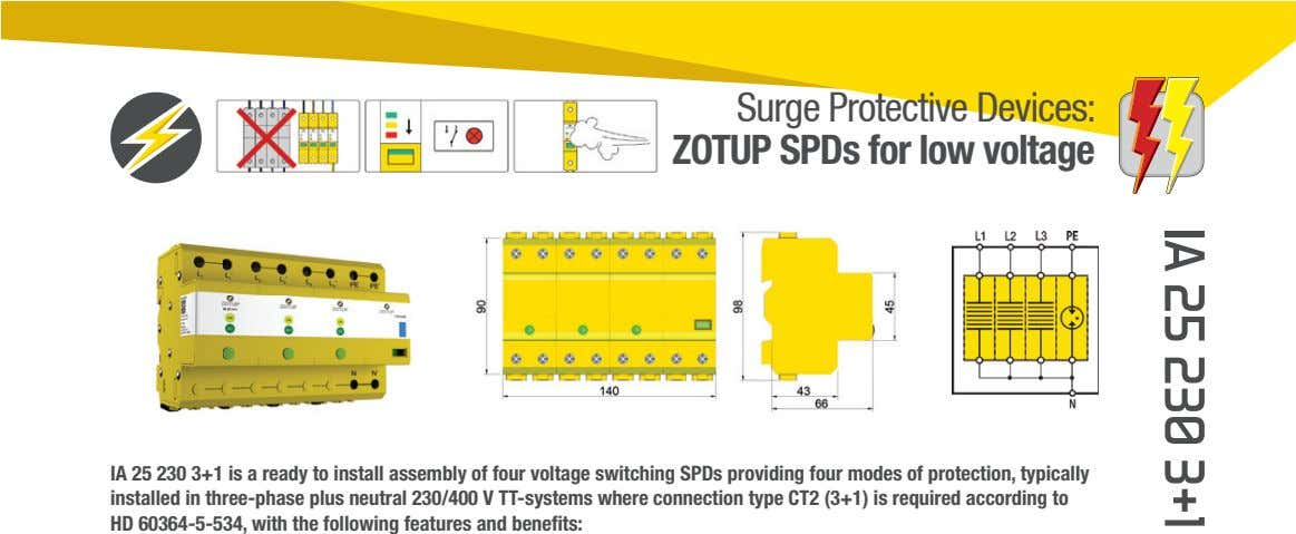 Surge Protective Devices: ZOTUP SPDs for low voltage IA 25 230 3+1 is a ready
