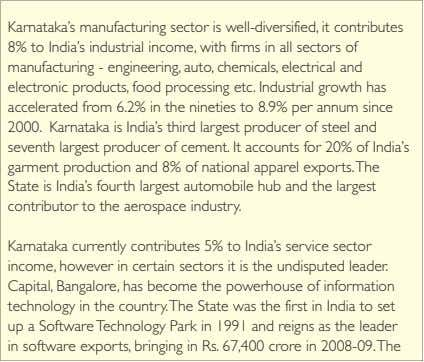Karnataka's manufacturing sector is well-diversified, it contributes 8% to India's industrial income, with firms in
