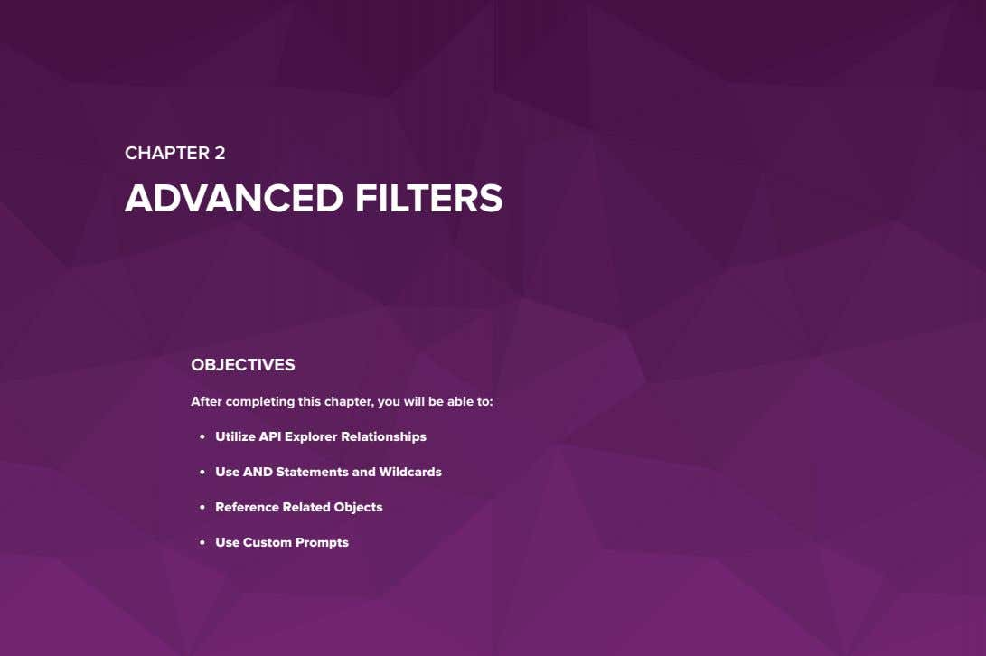 CHAPTER 2 ADVANCED FILTERS OBJECTIVES After completing this chapter, you will be able to: •
