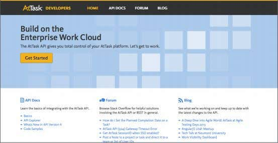 and tools to simplify integration with the Workfront API. The API Explorer section is used in