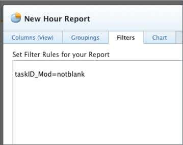 text mode filter. 6. Click the Save + Close button. Name the report Hours Belonging to