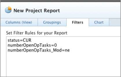 6. Click the Save + Close button. Name the report 'Current Projects With Open Issues'. Instructional