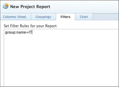 group:name=IT 8. Click the Save + Close button. Name the report 'Projects in the IT Group'.