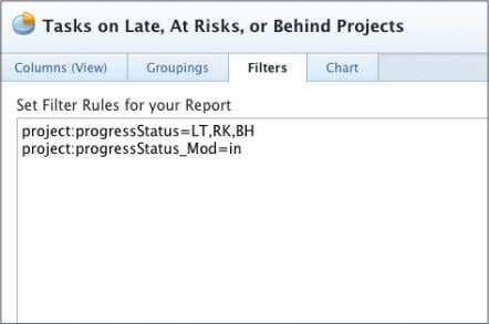 into your text mode filter. 6. Your statement should be: project:progressStatus=LT,RK,BH