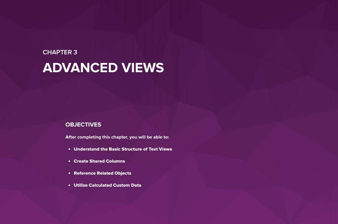 CHAPTER 3 ADVANCED VIEWS OBJECTIVES After completing this chapter, you will be able to: •