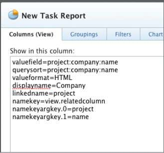 to Project = Name. This becomes a placeholder column. 5. Switch to text mode for column