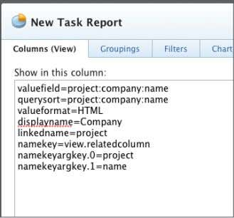 the text mode code for the column. Click Save + Close. Name the report 'Tasks with