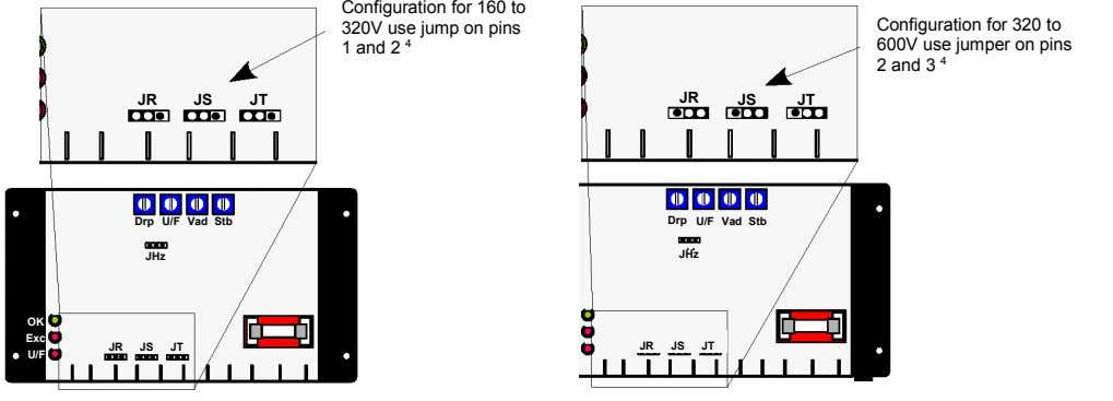 Configuration for 160 to 320V use jump on pins 1 and 2 4 Configuration for