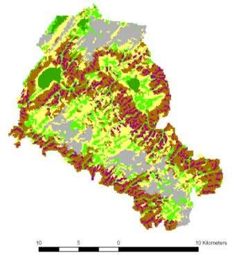 values for forest areas and lowest values for arable land. For forests, the biomass is relatively
