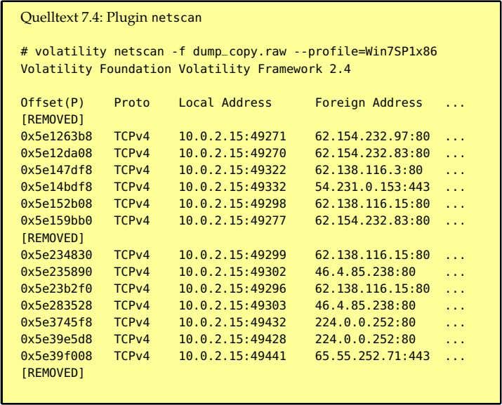Quelltext 7.4: Plugin netscan # volatility netscan -f dump _ copy.raw --profile=Win7SP1x86 Volatility Foundation