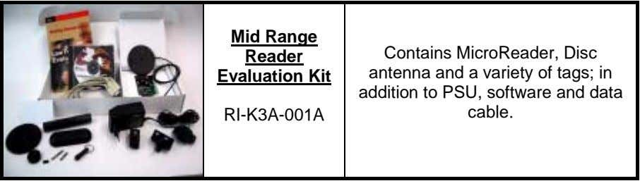 Mid Range Reader Evaluation Kit RI-K3A-001A Contains MicroReader, Disc antenna and a variety of tags;