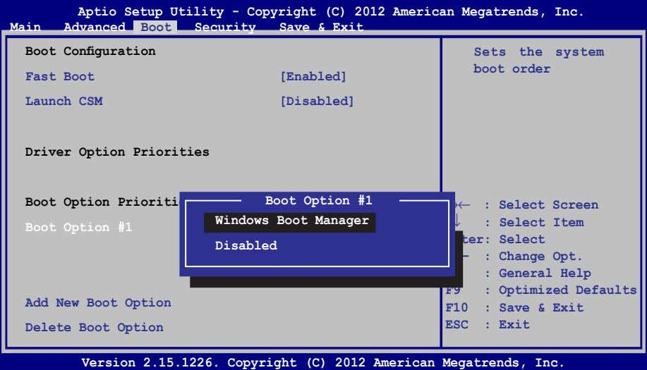 Aptio Setup Utility - Copyright (C) 2012 American Megatrends, Inc. Main Advanced Boot Security Save