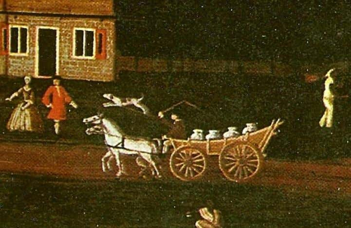 Early 18th century New York Dutch two-horse farm wagon. Detail from Van Bergen Overmantel, circa