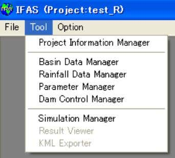 """Tool,"" and ""Option"" on main window of IFAS. Fig. 3.3 Manu on main window of IFAS"