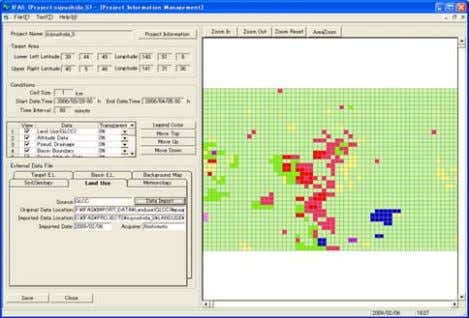 Target Area Select Target Area ② Project Information Manager(Importing external data) Elevation data Land use data